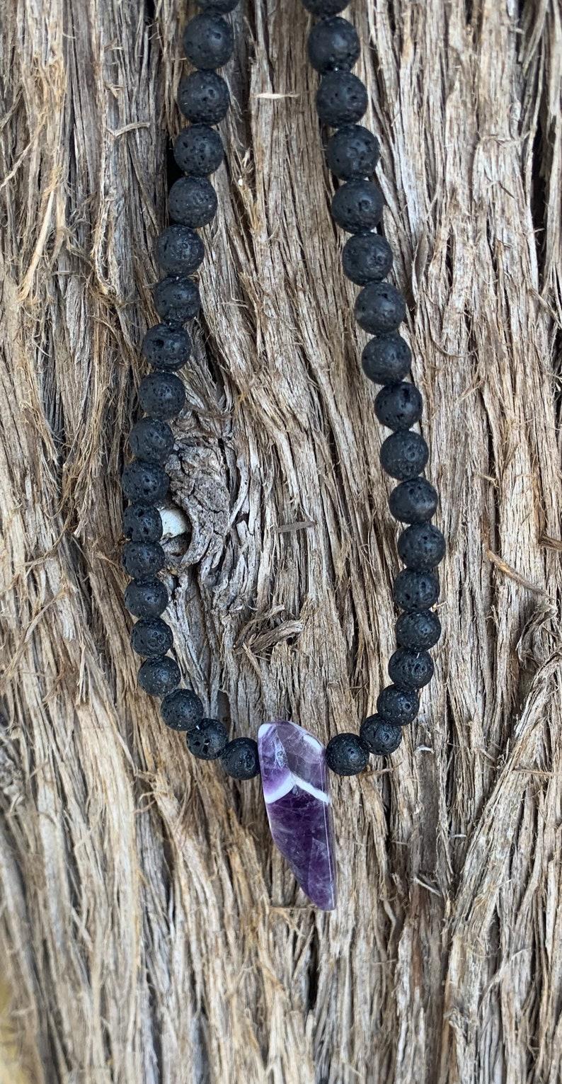 Chevron amethyst crystal on a black lava rock necklace amethyst necklace rough cut amethyst crystal necklace amethyst crystal necklace,