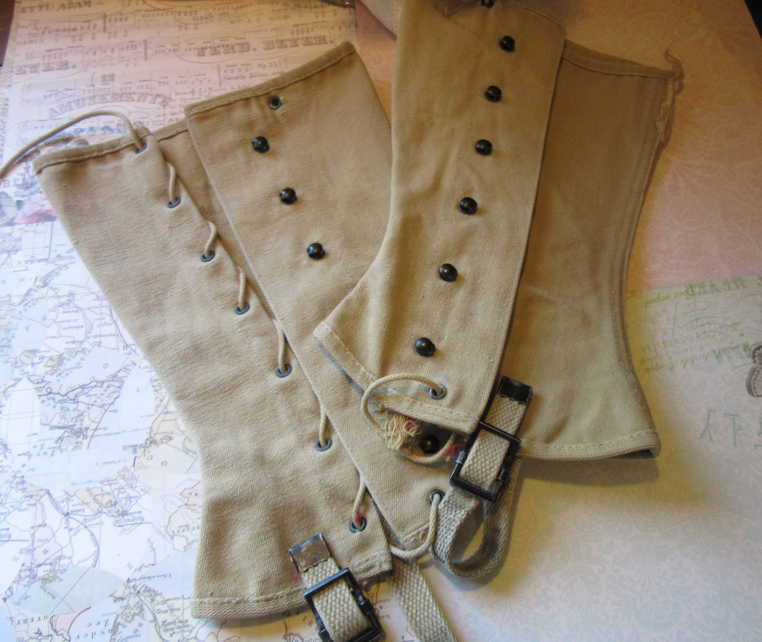Spats, Gaiters, Puttees – Vintage Shoes Covers Wwii Canvas Leggings Us Navy 1940S - Named  Dated Usn Military Spats Vintage Naval Ww2 Uniform Boot Protectors 40S $48.00 AT vintagedancer.com