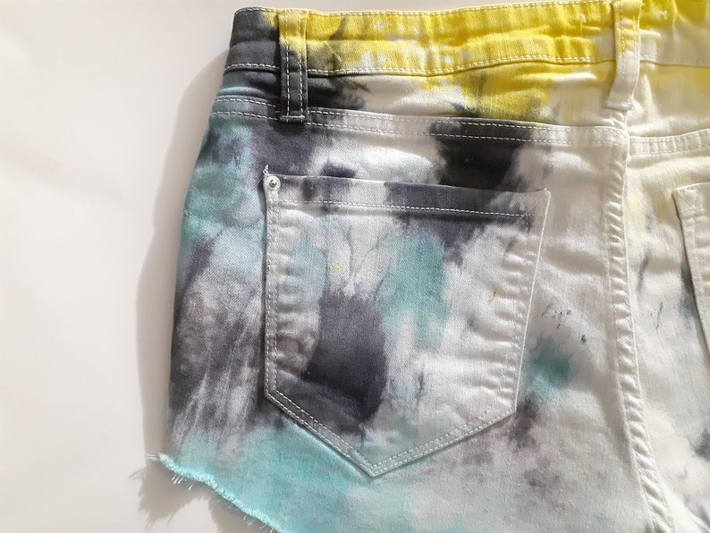 Blue and Yellow Shorts Summer Shorts Festival Hipster Boho Colorful Shorts 3132 Tie Dye High Waist Distressed Ripped Denim Jean Shorts
