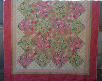 Pink and Green Floral Double-Size Quilt