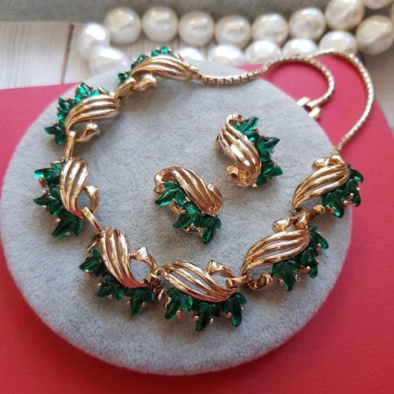Vintage Reja emerald necklace earrings set
