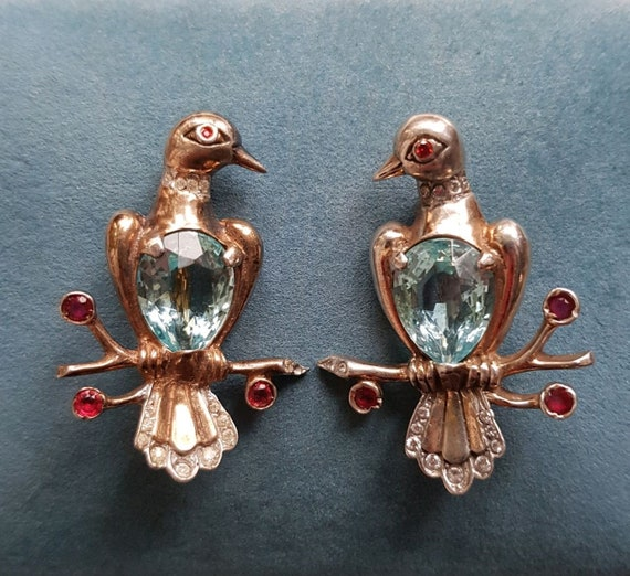 Vintage rare Reja Sterling birds brooches pair boo
