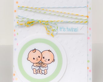 twin baby card etsy