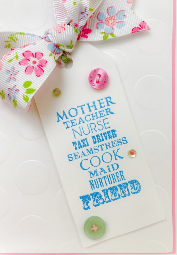 Handmade Mothers Day Card Mom Thank You Birthday Wife Floral Busy Sewing