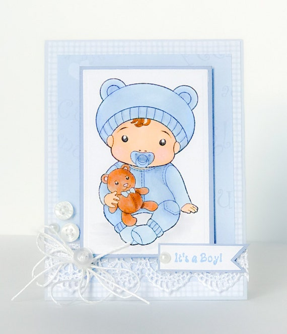 Handmade Baby Card Its A Boy Baby Shower Card Adoption Etsy