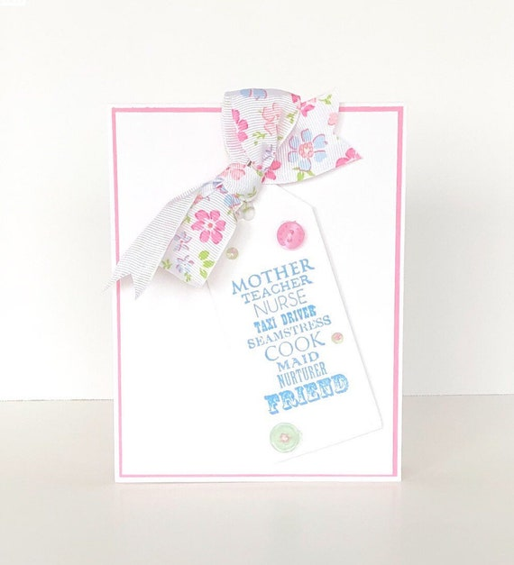 HAND STITCHED MOTHERS DAY CARD OR BIRTHDAY CARD PINK BUTTERFLIES