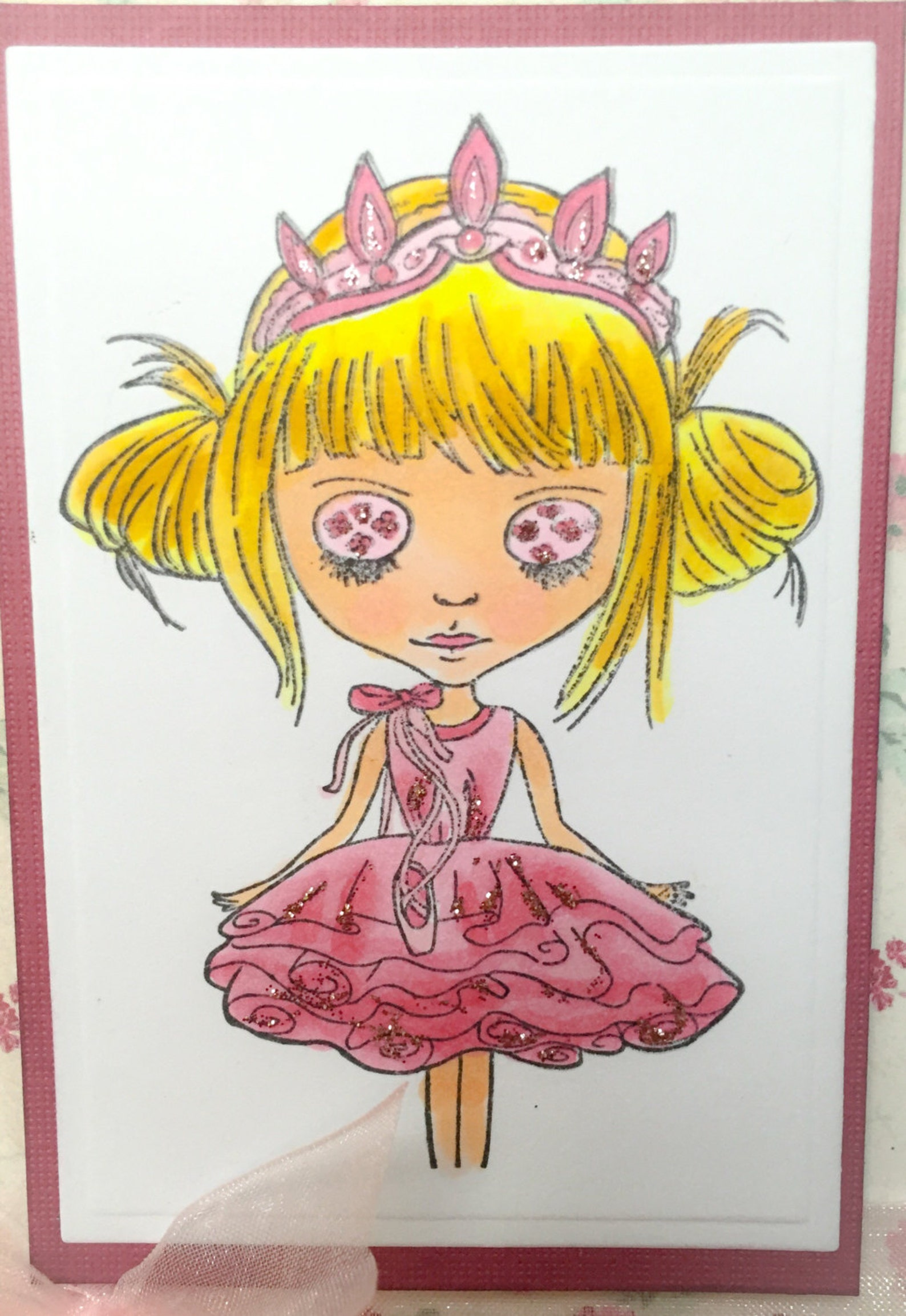 handmade dance card, ballet card, dance birthday, dance teacher, dance gift, ballet shoes, girls card, dance birthday, girls car