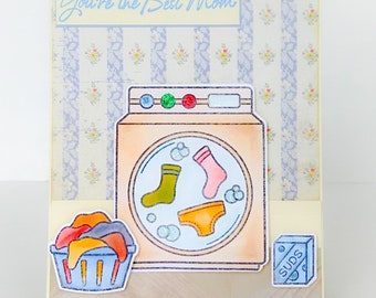 Handmade Mothers Day Card, Card for Mom, Mothers Day, Mom Birthday Card, Laundry Basket, Washing Machine, Dirty Laundry, Laundry Room