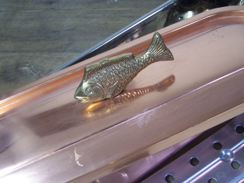Vintage French Nickel lined Copper Poissoniere Fish Kettle Poacher