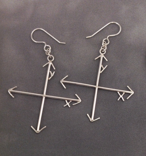Mad Math Skills XY Axis Earrings in Solid Argentium Sterling Silver