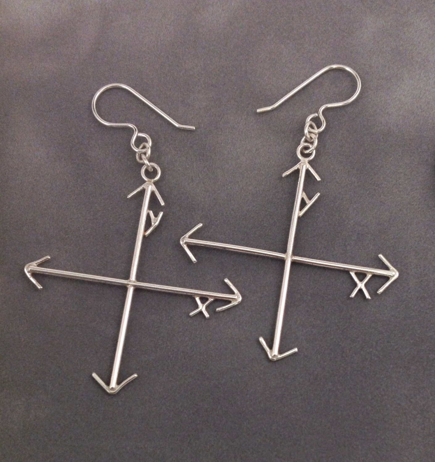Mad Math Skills Xy Axis Earrings In Solid Argentium