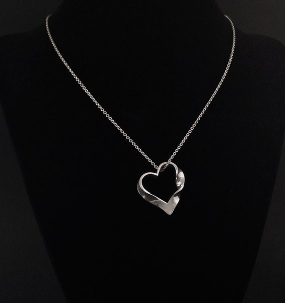 Heart Shaped Mobius Strip Pendant in Solid Argentium Sterling Silver