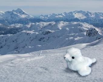 Baby White Arctic Seal Pup Wildlife Plush Stuffed Animal Toy