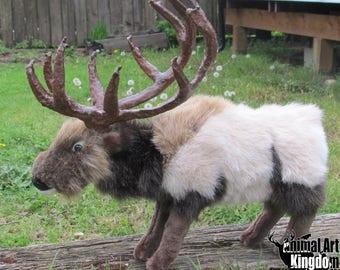 Handmade Plush Elk Deer Wildlife Realistic Faux Taxidermy Stuffed Animal Toy