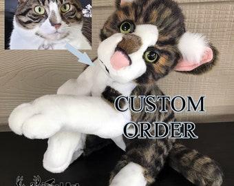 CUSTOM MADE to ORDER 20in Floppy Cat Plush Toy Stuffed Animal Commission Handmade Tabby Kitten Gift