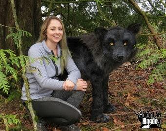 EXAMPLE WORK Life Size Display Realistic Black Wolf Handmade Plush Stuffed Animal