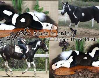 CUSTOM MADE to ORDER 20in Floppy Horse Plush Toy Stuffed Animal Commission Handmade Pony Foal Gift