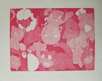 Pink Pokemon Intaglio Print