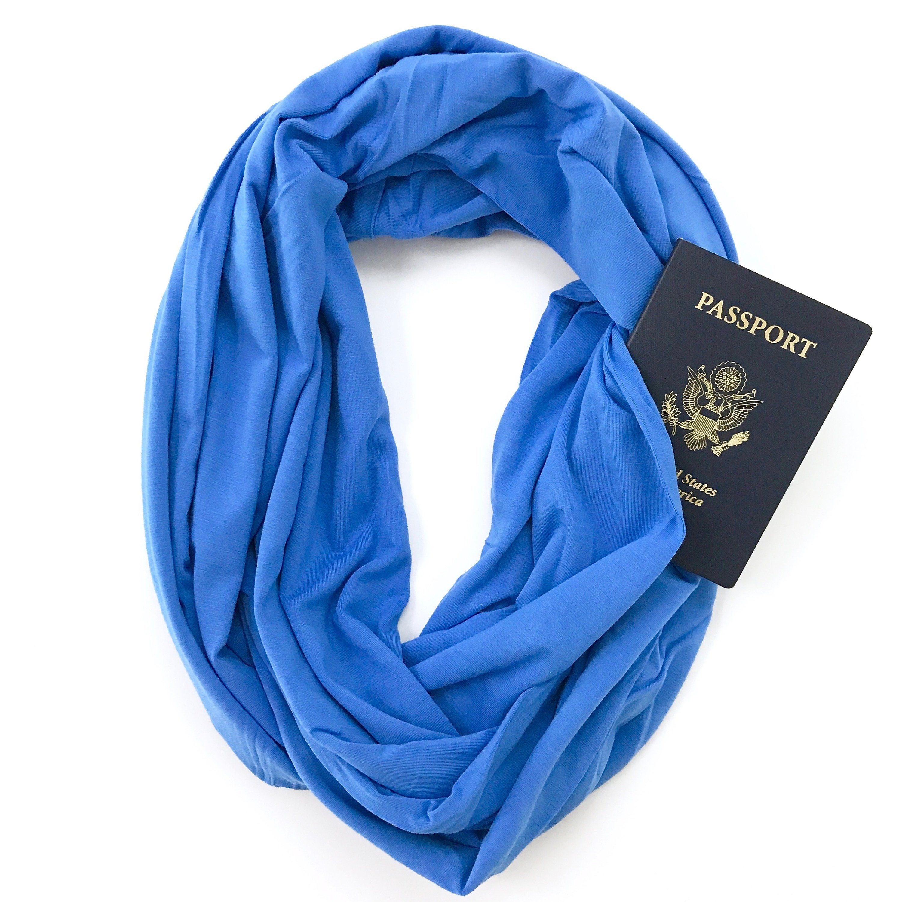 Blue bamboo infinity scarf with pocket travel gift etsy for Travel scarf