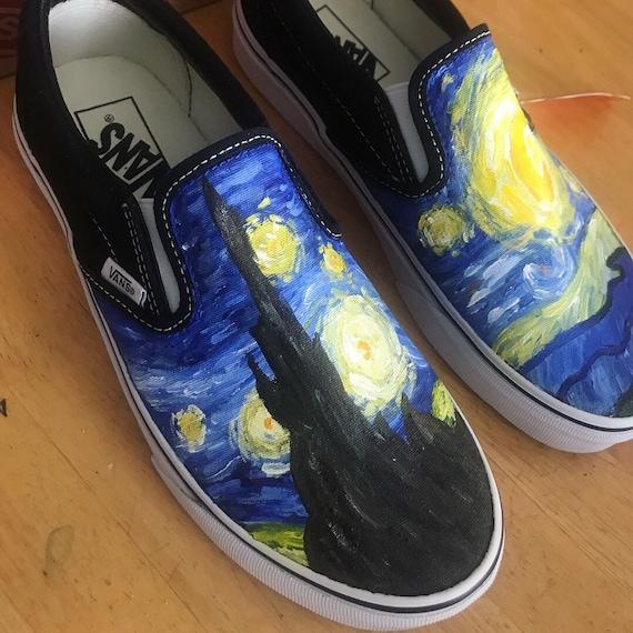 Custom Starry Night Hand Painted Canvas Vans