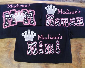 Listing is for 1 shirt Pageant Mom, Mimi, Mamaw,Grandma Aunt shirt Monogrammed