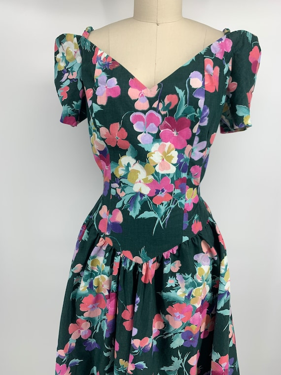 Lovely vintage 1980s floral dress - image 1