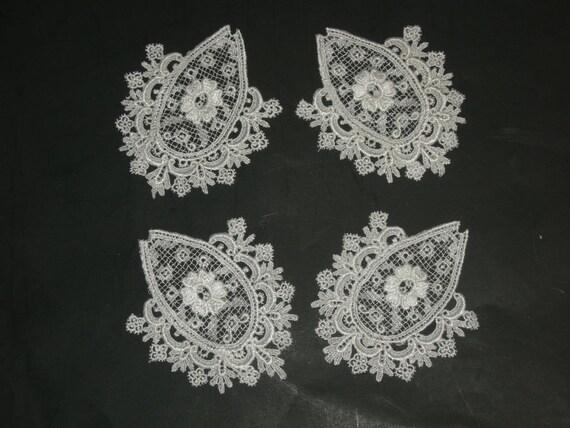 3+1//2 x 1+1//2 inch white set of  2 Venise Applique