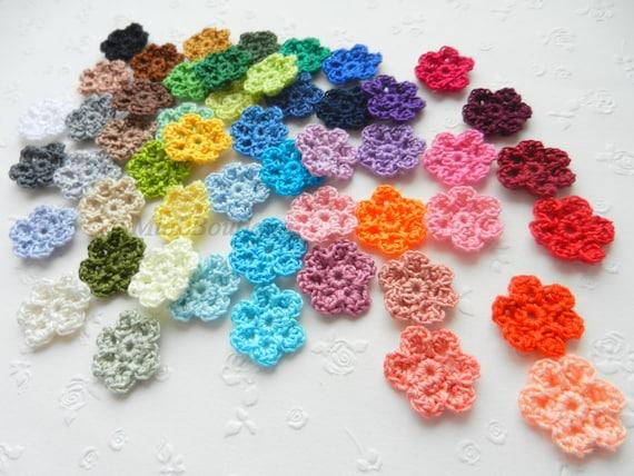 Gehäkelte Blumen Applikation 5 Stück Kleine Blume Häkeln Motiv Etsy