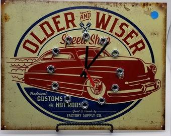 Clock  Older /& Wiser Mercury Metal Clock  Wall Clock  Housewares  Wall Decor  Man Cave  Garage Clock Automotive  Man Decor