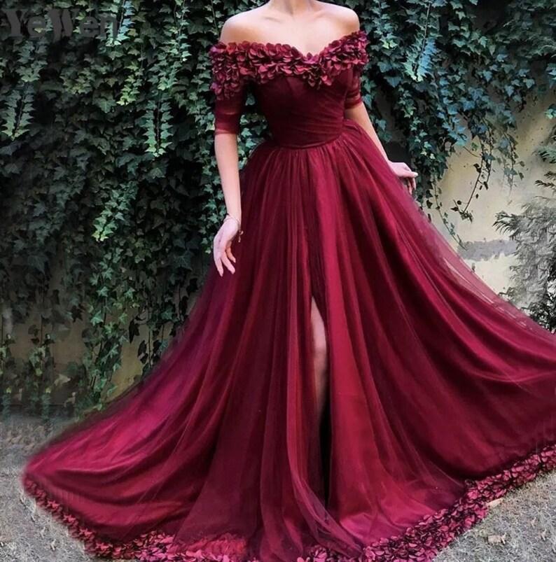 Rose Nymph Calliste Red Wedding Dress Boho Dress Bohemian Wedding Dress Fantasy Wedding Gown Red Bridal Dress Red Gown Red Rose Dress