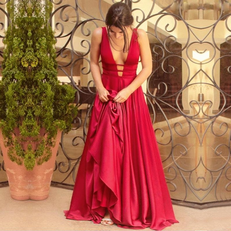 Gaia Calliste Red Wedding Dress Boho Dress Bohemian Wedding Dress Sexy Wedding Gown Red Bridal Dress Red Gown Red Evening Prom