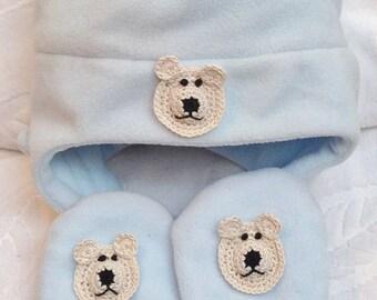216981726b45fa Boys Toddler Light Blue Fleece Hat Mittens Set - Handmade Puppy or Bear  Faces - One Size: 12-24 months