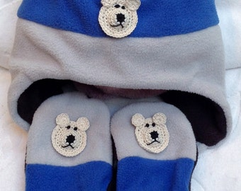 0dff604e20c460 Boys Toddler Black Blue Grey Fleece Hat Mittens Set - Handmade Puppy or  Bear Faces - One Size: 4-7 years