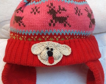52f7166d84a574 Boys Girls Newborn Infant Red Fair Isle Knit Fleece Trapper Hat - Handmade Puppy  Dog or Bear faces or Ladybug Rose - One Size: 3-6 months