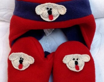 8fe429679e37c9 Boys Baby Infant Toddler Red Blue Fleece Hat Mittens Set - Handmade Puppy  or Bear Faces - One Size: 12-24 months