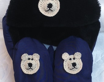 3a1954b4df4df3 Boys Baby Infant Blue Black Bomber Faux Fur Nylon Fleece Hat Mittens Set -  Handmade Puppy or Bear Faces - One Size: 12-24 months