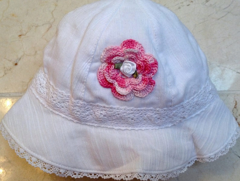 9f1e6764cf323 Girls Baby Infant Bonnet Hat Sunhat - Handmade Irish Rose - White with Lace  Trim - Sizes 3-6 and 6-12 Months