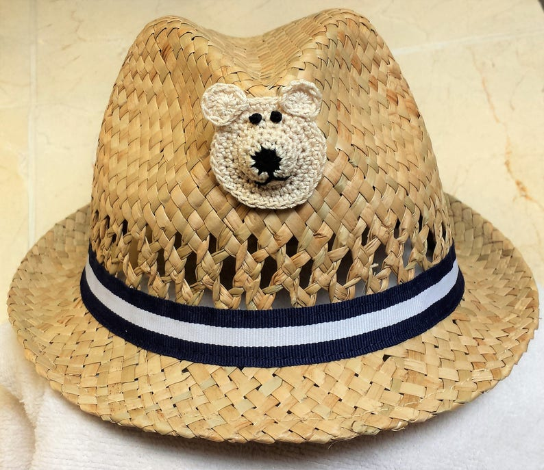 65ee19675 Boys Infant Toddler Tan Straw Fedora Hat Cap - Handmade Teddybear Face -  Blue White Ribbon - Sizes 6-12, 12-24 months, 2T-3T, and 4T-5T