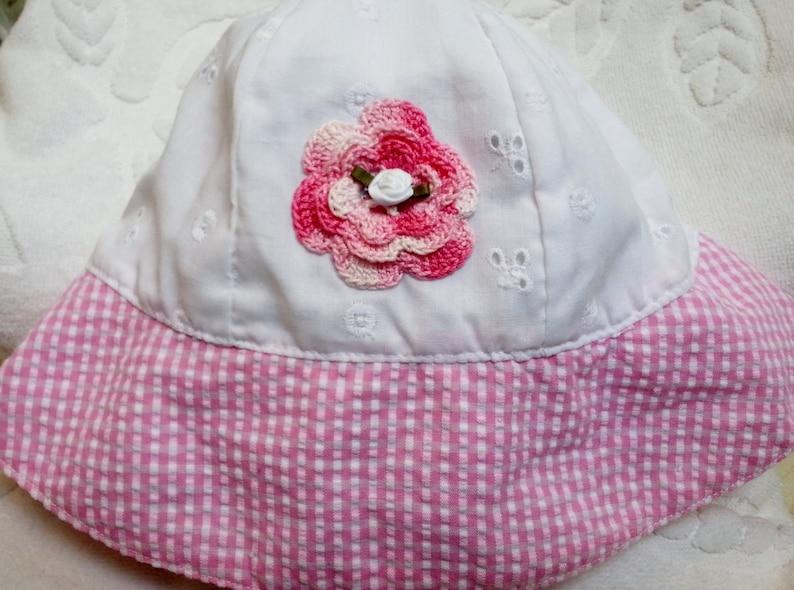b878f89d116ca Girls Baby Infant Toddler White Eyelet Pink Gingham Hat Sunhat - Handmade  Irish Roses - Sizes 6-18 months and 2T-4T