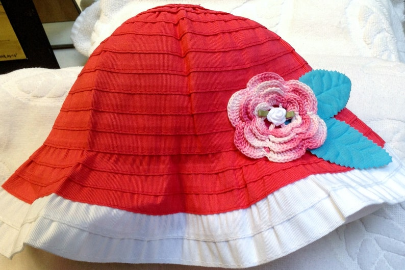 9090eae5fada2 Girls Baby Infant Toddler Pink White Hat Sunhat - Handmade Irish Rose -  Sizes 6-12 months, 12-24 months, 2T-3T, and 4T-5T Years
