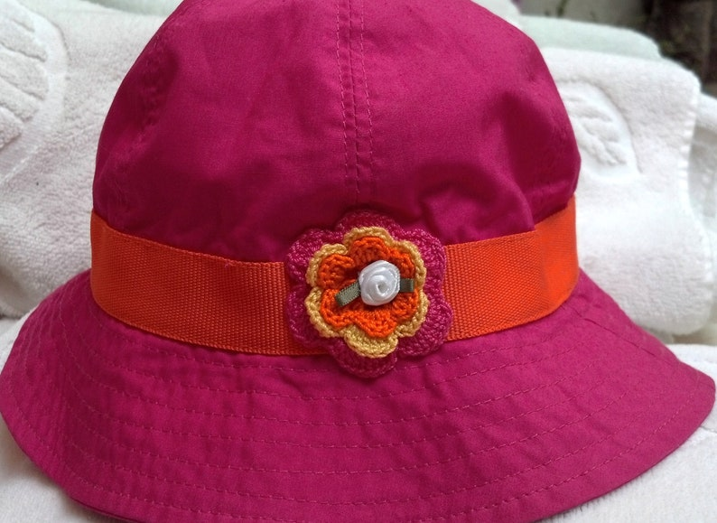 b9bc11892a339 Girls Toddler Hat Sunhat - Handmade Irish Rose - Hot Pink with Orange Trim  - Sizes 18-24 Months, 3-4 Years