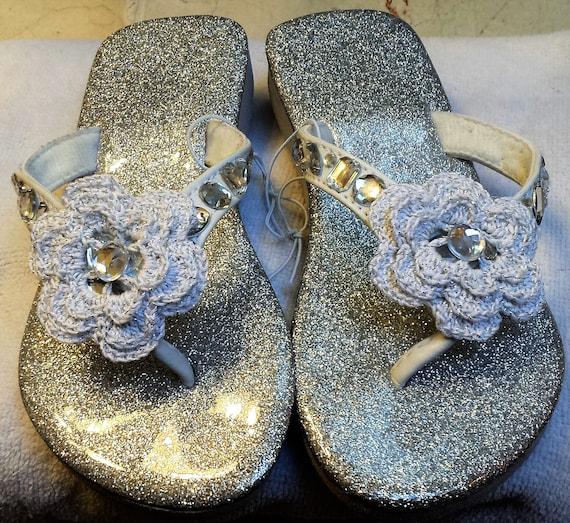 Girls Silver Sparkle Flip Flop Sandals