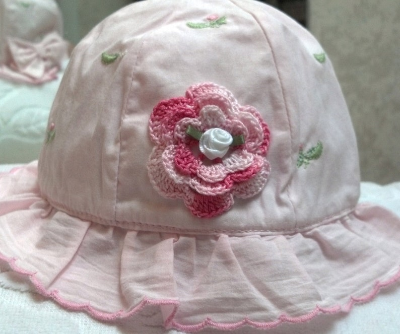 17c5cd6eed43d Girls Baby Infant Toddler Hat Sunhat - Handmade Irish Rose - Light Pink  with Bow and peapod embroidery - Sizes 3-6, 6-12, 12-18 Months