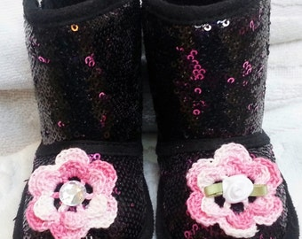 Girls Baby Infant Black Pink Sequin Faux Suede Boots Slippers - Handmade Irish Roses You Pick Center -  Sizes: 3-6  months
