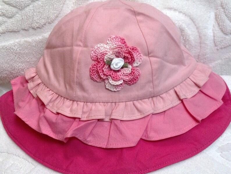 e085c8fc9a3a1 Girls Baby Infant Pink Ruffles Hat Sunhat - Handmade Irish Rose - Sizes 3-6  and 6-12 Months