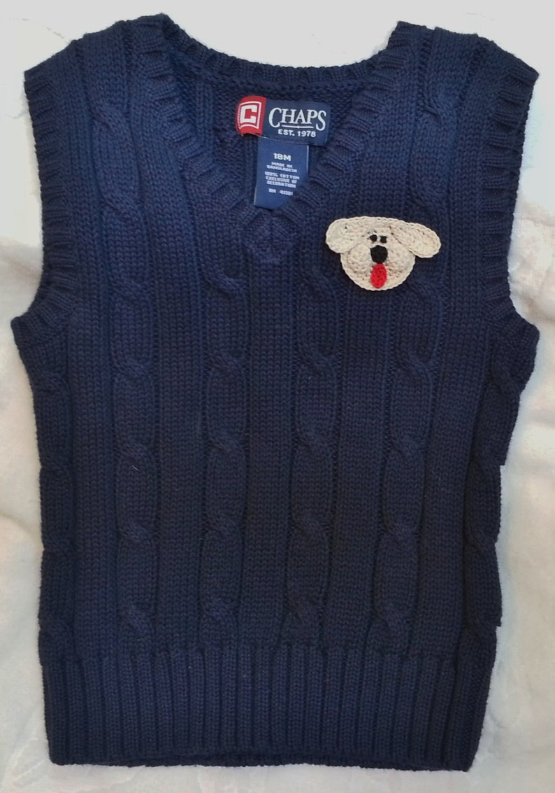 b003aa6cf0ce8 Baby Infant Toddler Boys Navy Blue Pullover Cable Sweater Vest - Handmade  Puppy Dog Face - One Size 18 months