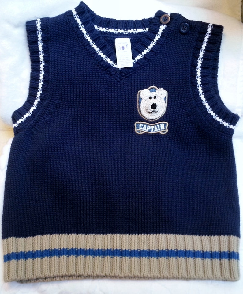 ec7553ed274ae Baby Infant Boys Navy Blue Pullover Sweater Vest - Handmade Teddy Bear Face  - One Size 12-18 months