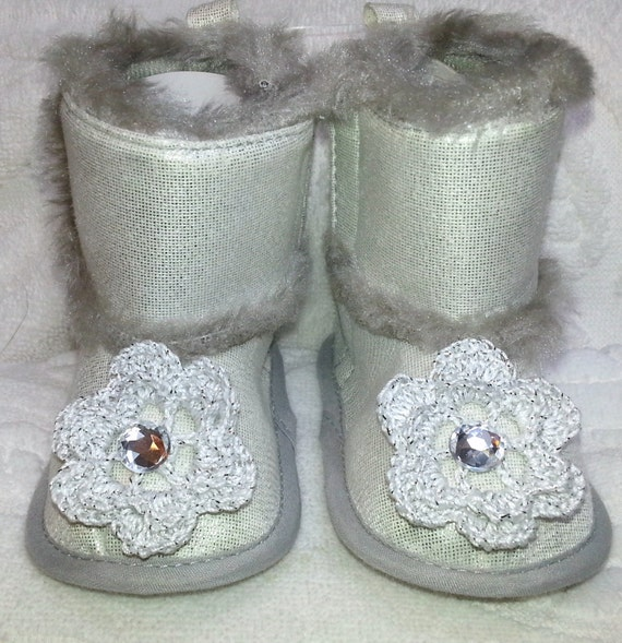 Baby Girls Infant Silver Sparkle Sequin Faux Suede Boots Slippers - Handmade Irish Roses - Size 3-6, 6-9, and 9-12 months