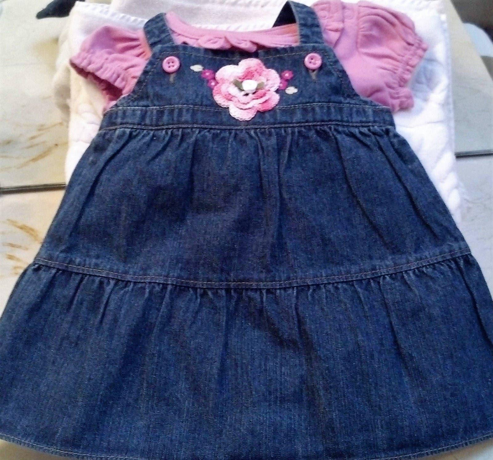 05f42946c9 Girls Baby Infant Newborn Blue Denim Jumper Dress Outfit Set