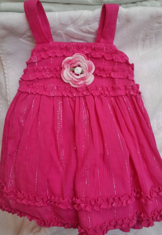 0a2c2b5e1 Girls Baby Infant Toddler Hot Pink Sparkle Dress Sundress